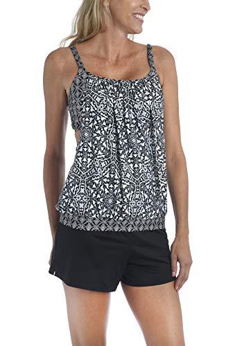24th & Ocean Women's Standard Double Layer Banded Bottom Tankini Swimsuit Top, Black//Mosaic Tile, M