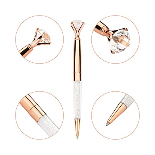 Pen Gift Set for Women - 3 Rose Gold Big Diamond Pens with Crystals in a Pink Gift Box – Rose Gold, White, Rose Gold, Fancy, Bling Top Ballpoint Writing Pens, Black Ink/Medium Point Photo #4
