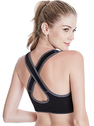 FITTIN Racerback Sports Bra for Women- Padded Seamless Activewear Bras for Yoga Gym Workout Fitness 4 Packs Black Grey White