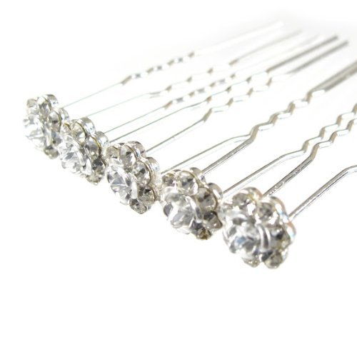 Jewellery of Lords 10 Clear Czech Crystal Silver Metal Rose Flower Wedding Bridal Bride Prom Hair Bobby Pin by Jewellery of Lords