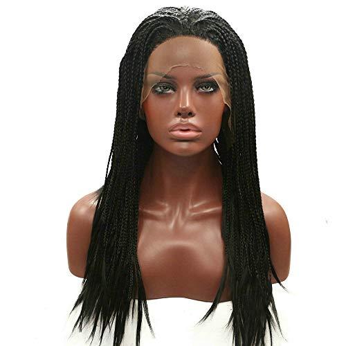 Kunsthaar-Perücke, Drag Queen, handgeflochtene Zöpfe, Afro, synthetische Spitze, natürlicher Haaransatz, Schwarz, 51 cm