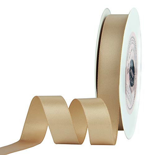VATIN 5/8 inch Double Faced Polyester Tan Satin Ribbon - 25 Yard Spool, Perfect for Wedding Decor, Wreath, Baby Shower,Gift Package Wrapping and Other Projects