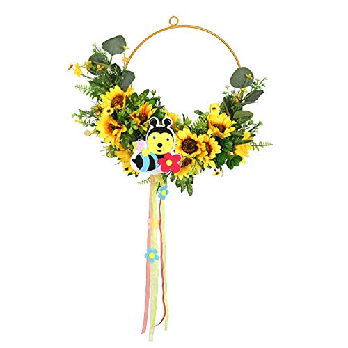 FLAMEER Guirnalda Vintage de Flores de Sol de Abeja, Guirnalda Decorativa Hecha a Mano, Guirnalda de Puerta Colgante Pared decoración Interior y Exterior de