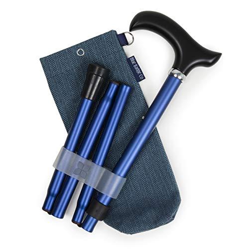 Blauwe badge Co Opvouwbare wandelstok Navy met ergonomisch handvat & visgraat wandelstok tas Draagtas Portemonnee Handtas voor Vouwstokken