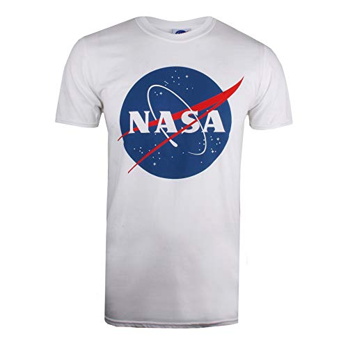 Nasa Circle Logo T-Shirt, Bianco (White White), Medium Uomo