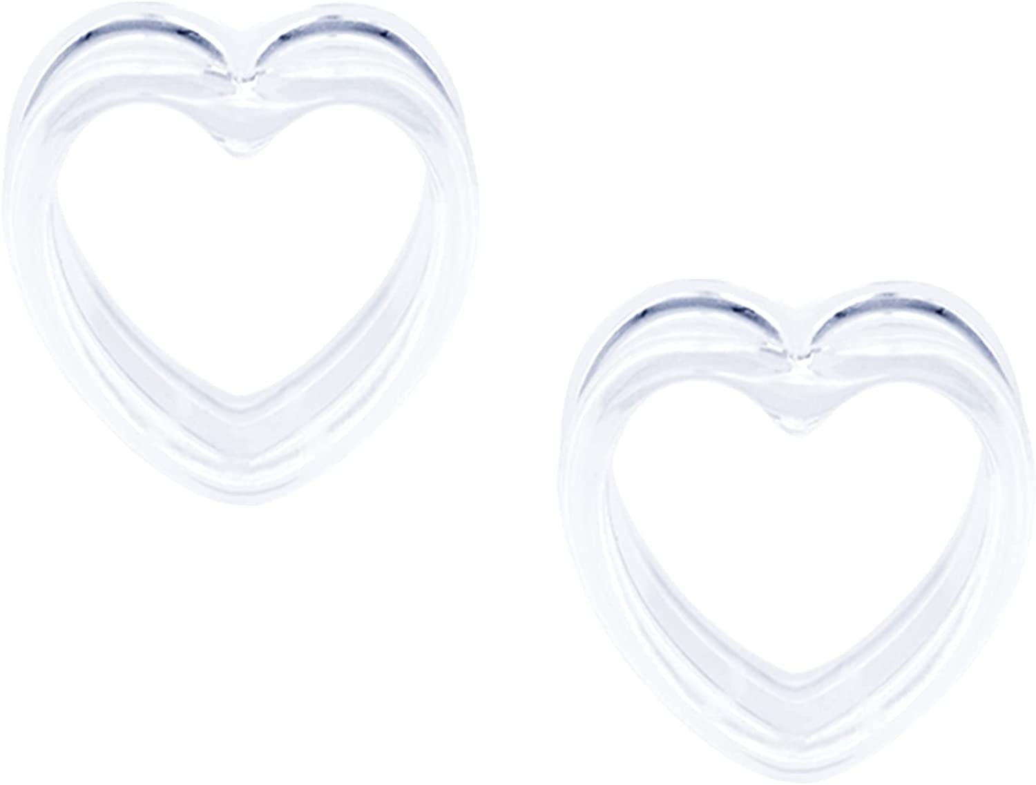 AceFun 1 Pair Ear Tunnels Ear Plugs Tunnels Silicone Double Flared Solid & Hollow Heart 6-25mm Ear Gauge Ear Stretchers Expander Clear White Black Body Piercing Jewelry