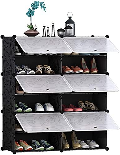 WQFJHKJDS Zapato de Calzado Entrelazado Zapato Rack Rectangular Almacenamiento Organizador Modular Almacenamiento Modular Unidad de Estante con Puertas Multifuncional Zapato Rack Zapato Estantería