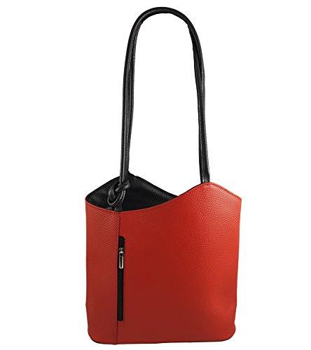 Freyday 2 in 1 Handtasche Rucksack Henkeltasche aus Echtleder in versch. Designs (Glattleder Rot-Schwarz)