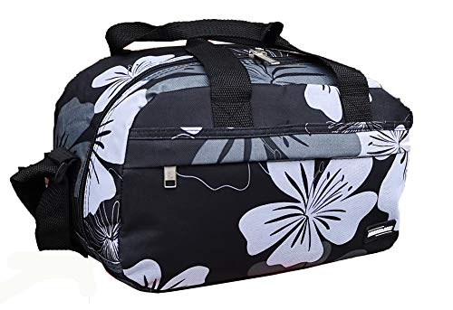 Ryanair Small Second Hand Luggage Travel Cabin Shoulder Flight Bag Fits 40x20x25 (Black & White Flower)