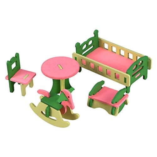TOYANDONA Holz Puppenhaus Möbel Kit Mini Babybett Tisch Stuhl Schaukelpferd Bett 5 Stück