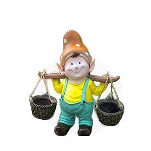 GIAO Adornos de Alto Patio de 39 cm Estatua de niño Lindo Escultura de Duende de Frp Decoración de jardín al Aire Libre Decoración del Hogar Jardín Patio Adorno
