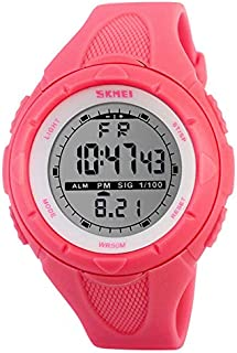 SKMEI Girls Digital Sports Watch Waterproof EL Backlight PU Band Alarm Calendar Outdoor Wristwatches