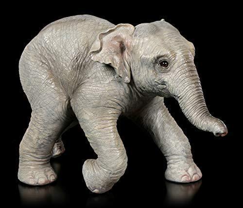 Figuren Shop GmbH Gartenfigur - Elefanten Kalb | Tier-Figur, handbemalt