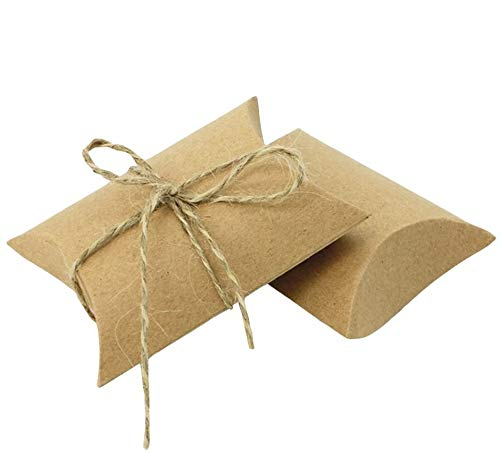 LUOEM Wedding Kraft Boxes Pillow Candy Boxes Paper Candy Gift Boxes with Hemp Rope Gift Wrap Boxes Wedding Party Favor,Pack of 50
