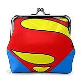 Superman Superhéroe Monedero Monedero Monederos Tarjetas de crédito Bolsa Kiss Lock Exquisita Hebilla Maquillaje Cambio de teléfono Celular Monederos de Cuero para Mujeres Monederos Monederos