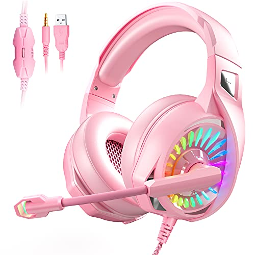 Gaming Headset,Eposy PS4 Headset with Stereo Surround Sound,Xbox Headset with Noise Canceling Microphone,LED Light, Soft Memory Earmuff for PC/Laptop/Mac /PS4/PS5/Xbox one(Adapter Not Included)
