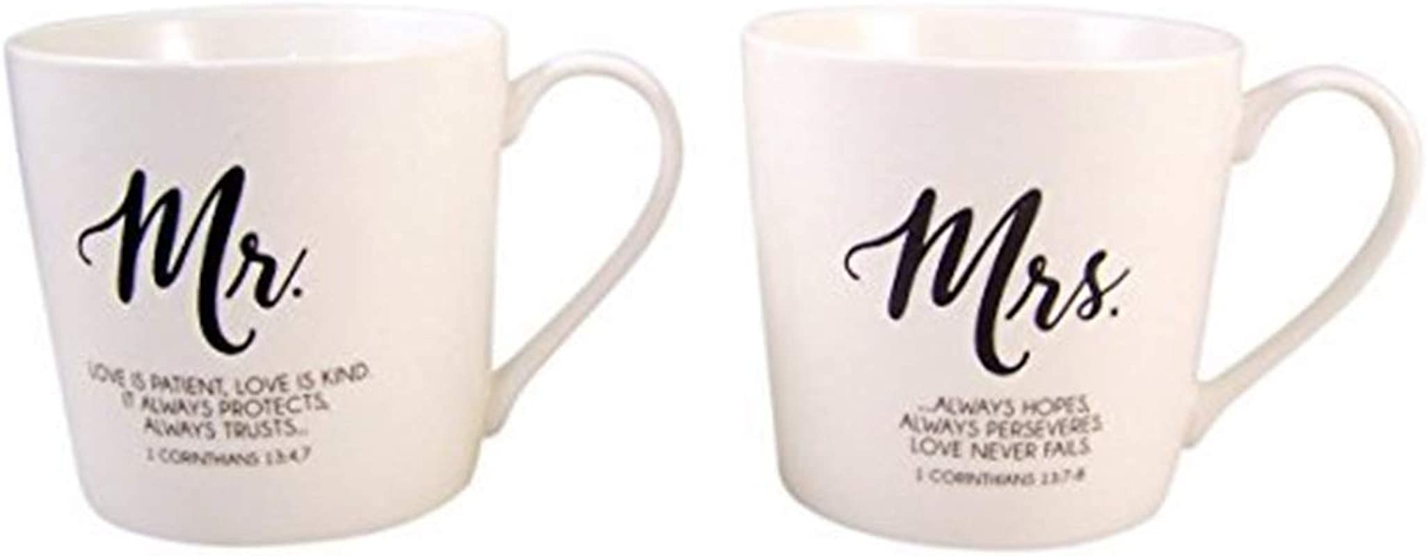 Mr And Mrs Coffee Mug Set With Love Is Patient Bible Scripture Set Of 2 12 Ounce