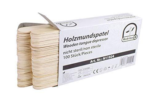 Medi-Inn Mundspatel zur Inspektion des Rachenraumes | Holzspatel zum Basteln | zum Auftragen von Salben oder Wachsen (100 Stück)