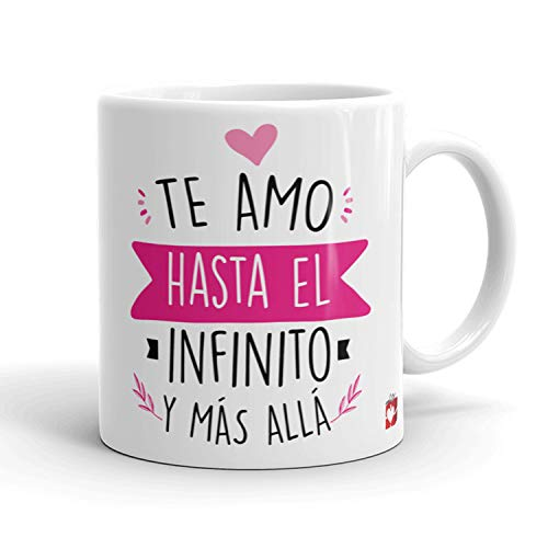 Kembilove Taza Desayuno para Parejas – Tazas Originales con Mensaje Te amo hasta el infinito y más allá color rosa – Taza de Café y Té para Madres – Tazas de Regalo para el día de San Valentín