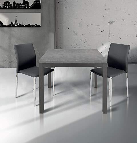 Milani Home s.r.l.s. Tavolo da Pranzo Moderno di Design Apribile A Libro Cm 90 X 90/180 Rovere Grigio per Sala da Pranzo Cucina Ristorante