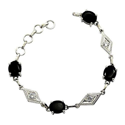 Gemsonclick - Pulseras de Plata de Ley 925, Ónix Negro, para Mujer, Hechas a Mano, Anillo de Resorte DE 16,5 a 20,3 cm