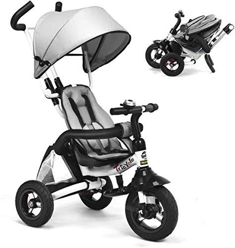 UBRAVOO Dreirad 6 in 1 Kinderdreirad Kinder Fahrrad Baby Kleinkinder mit Lenkbarer Schubstange, mit FlüSterleise Gummireifen und Sonnendach für Jungen und Mädchen ab 12 Monate -5 Jahre (Grau)