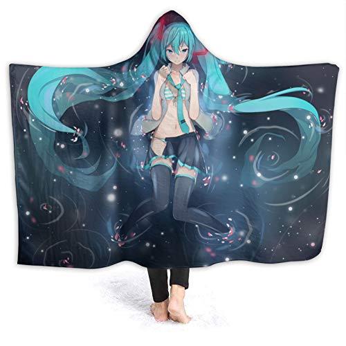 JJFJJ Hatsune Miku Hooded Blanket Oversized Warm Blanket for Adults,Hooded Blanket,Children's Fashionable Novel Blanket,with Soft Suede Flannel,A 3D Trend Printing Personalized Blanket