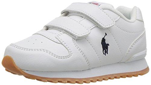Polo Ralph Lauren Kids Baby Oryion EZ Sneaker, White Tumbled Navy pop, M070 M US Toddler