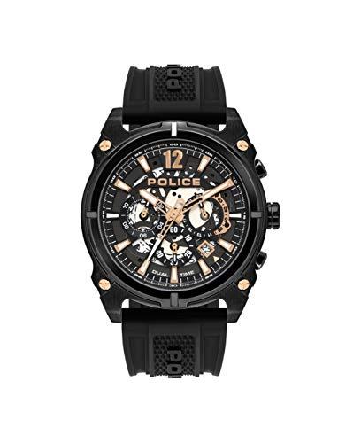 Police polizei antrim pl.16020jsb / 61p gun dial schwarz silikon armbanduhr