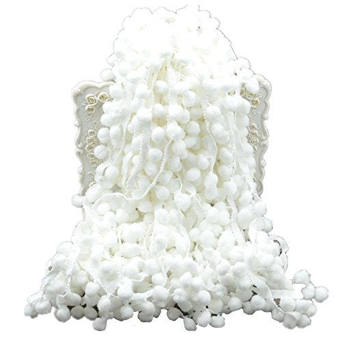 20 Yards Pom Poms Fringe Ball Trim Sewing Ribbon Embroidered Lace Tassel Applique for Clothing Accessories Bedding Quilting Crafts Supplies (White)
