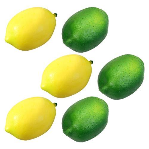 Cabilock – 6 peças artificiais de limão e limão falso, espuma realista, limão, frutas, vegetais, adereços para fotografia de casa, festa, festival, mesa