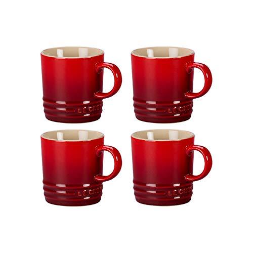 Le Creuset 3.5 Ounce Cherry Stoneware Petite Espresso Mug, Set of 4