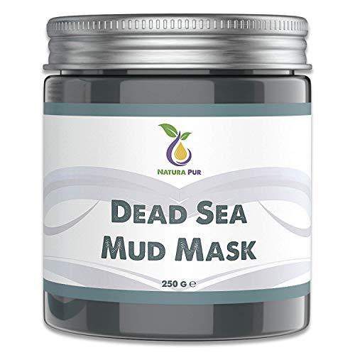 NATURA PUR Gezichtsmasker met modder uit de Dode Zee 250g, biologisch en veganistisch - Werkt tegen puistjes, mee-eters en acne - anti-aging verzorging voor een droge en onzuivere huid - moddermasker voor gezicht en lichaam