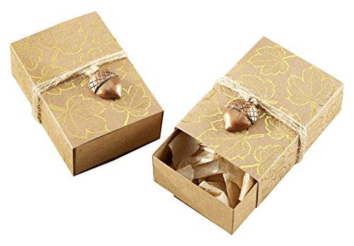 Kate Aspen Foil Leaf Print Kraft Favor Box with Acorn Charm (Set of 24), Gold/Copper
