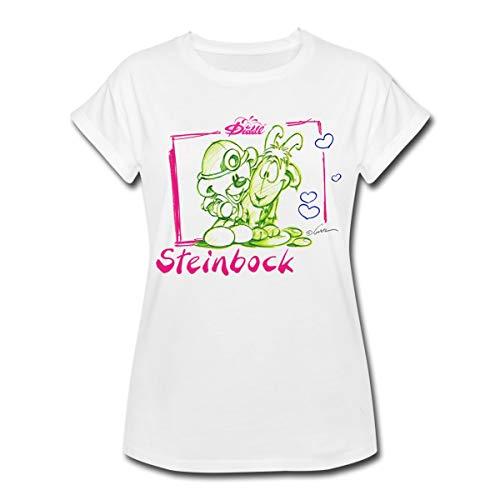 Diddl Sternzeichen Steinbock Teddy Pimboli Frauen Oversize T-Shirt, S, Weiß