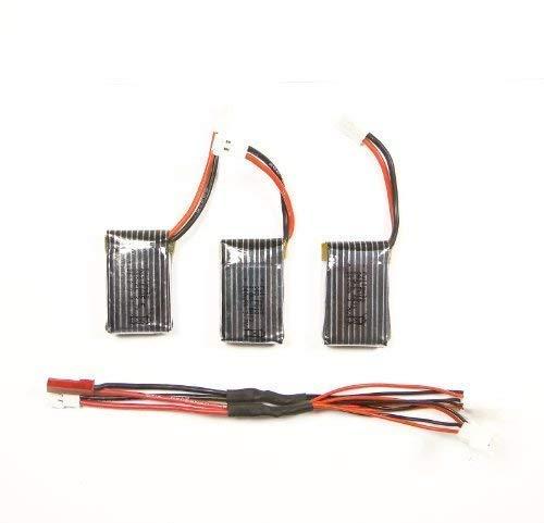 efaso Zubehör Hubsan x4 H107 - 3 Akkus inkl. Mehrfachladekabel - Auch passend für: Simulus GH-4.Mini