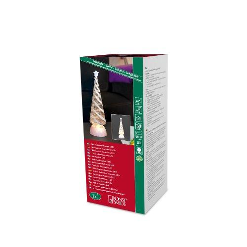 Konst Smide 2806-000 - Árbol de Navidad con luz (con agua en y copos de nieve el interior, luz blanca cálida, 4 pilas AAA de 1,5V no incluidas, con transformador)