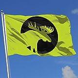 wallxxj Fahne Elch Silhouette Mond Outdoor Outdoor Druck Haus Banner Lebendig Willkommen Bunte Familienurlaub Klassische Saison 90X150Cm Banner Flagge Garten Flagge Standard