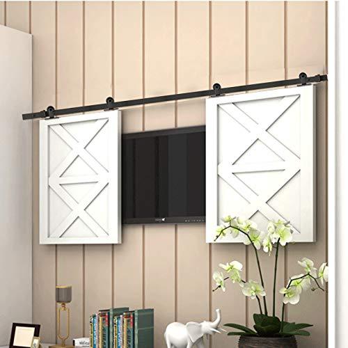 AMC Funiture - Kit de herrajes para puerta corredera de granero resistente de 5 pies suave y silenciosamente simple y fácil de instalar para dos puertas (1,2 m, estilo superior)