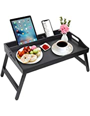 Ontbijt bed lade tafel met handgrepen opvouwbare benen bamboe bed lade met media sleuf, opvouwbare schotel lade, laptop bureau, snack, tv bed lade keuken serveren schotel lade (zwart)