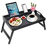 Bed Tray Table with Handles Folding Legs Bamboo Breakfast Food Tray with Media Slot,Foldable Platter Tray,Laptop Desk,Snack,TV Tray Kitchen Serving Tray (Black)