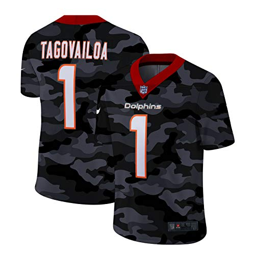 Jersey de Rugby para Hombres - TAGOVAILOA # 1 Dolphins American Football Jersey, Partidario Camiseta Deporte Bordado de Manga Corta Mejor Regalo Limpieza repetible Black D-M