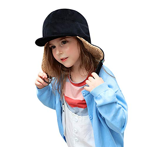 FUFU Trapper Hat Kids Trapper Hat Winter Hat Toddler Boys Girls Polar Fleece Earflap Hat with Brim And Sweat Band Snow Ski Hat for Aged 3-15 Soft Warm (Color : Black)