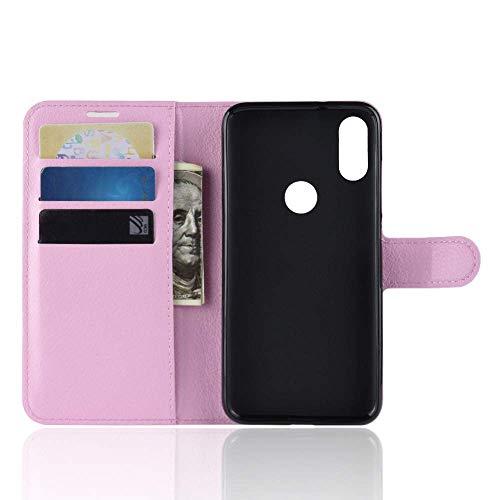 """Capa Capinha Carteira Case 360 Para Xiaomi Redmi 7 Com Tela De 6.26"""" Couro Sintético Flip Wallet Para Cartão - Danet (Rosa)"""