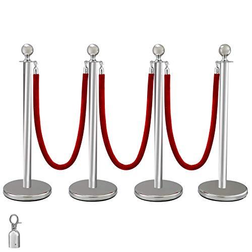 Edelstahl Absperrpfosten Seil Abgrenzungsständer Kugelkopf 3 Rote Samtseile Silberne Säule 4 Packung