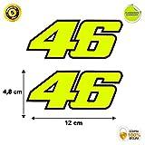 Pegatina Adhesivo Sticker 46 Valentino Rossi Vinilo Troquelado Amarillo Fluorescente Moto Casco Coche 2 Unidades