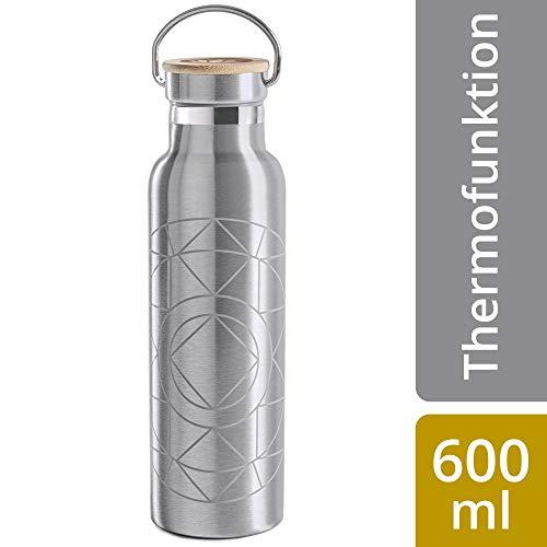 Lotuscrafts Drinkfles Roestvrij Staal [600 ml] Dubbelwandig - 100% afsluitbaar & lekvrij voor yoga, sport en dagelijks gebruik - duurzaam & BPA-vrij - thermosfles voor warme & koude dranken