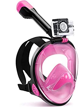 Zentouch Full Face Snorkel Mask with Latest Dry Top System and Safety Breathing System,Foldable 180 Degree Panoramic View Snorkeling Mask with Camera Mount Anti-Leak&Anti-Fog for Adults&Kids