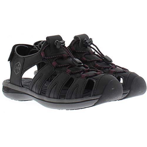 Khombu Womens Ashley Adjustable Active Sandal (8, Black/Purple)