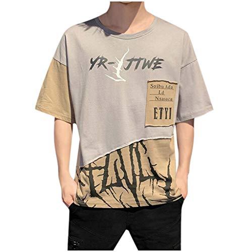 Realde Herren Top Drucken Kurzarm Lose Fit T-Shirt Strassenmode Freizeithemd Oder Rundhals Bluse Männer Atmungsaktiv Bequem Oberteil Größe M-3XL